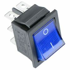 Blue illuminated On-Off Rectangle Rocker Switch 220V DPDT