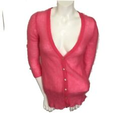 J.Crew Women's Bright Pink Mohair V-Neck Cardigan Sweater Long Sleeve Size Small