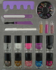 NAIL POLISH & GLITTER ART KIT FILE SEPARATOR WHITE PENCIL SEQUIN FRENCH MANICURE