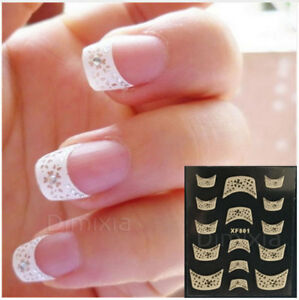 FRENCH NAIL TIPS CRYSTAL WATER GUIDES ARTS STICKERS DECALS MANICURE STENCIL