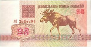 25 Ruble banknote 1992 1st Belarus issue after colapse of USSR uncirculated (44)