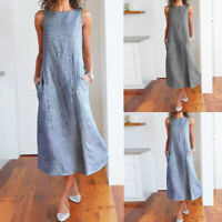 Women's Casual Loose Striped Sleeveless Dress Crew Neck Linen Pocket Long Dress