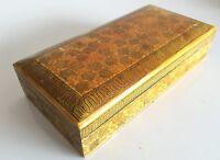 Antique Old Original Fine Paper Mache Golden Floral Design Hand Painted  Box
