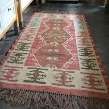 100 Wool Jute Kilim Rust Beige Blue 120x180cm Quality Hand Made Reversible Rug