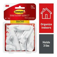 Command Medium White Wall Mounted Utility Hook Value Pack (8 Hooks, 16 Strips)