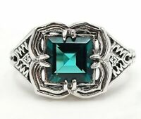2CT Apatite 925 Solid Sterling Silver Filigree Ring Jewelry Sz 8, PR32