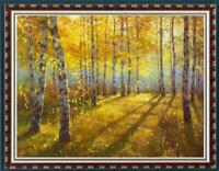 "Hand painted Oil painting original Art Landscape Birch forest on canvas 30""x40"""
