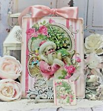 "~ Shabby Chic Vintage French Countyr Wall Decor Sign ""Pink Santa/Roses/Toys ~"