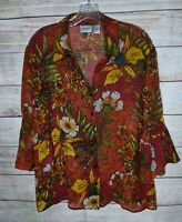 Chicos Size 2 100% Silk Semi-Sheer Floral Top Large 3/4 Bell Sleeve