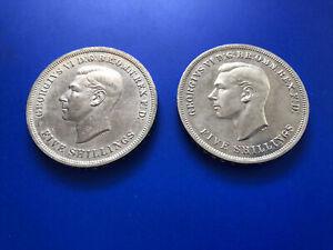 UK - 1951 Festival Of Britain, George VI 5 Shilling Crown 1951 x2