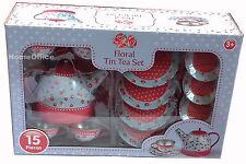 15 Piece  Tin Tea Party  Set Child Toy  No Porclean Breakage Floral Patterend bl