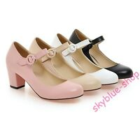 Womens Round Toe Ankle Strap Pump Shoes Buckle Block Heels Mary Jane Dress Shoes