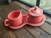 Vintage Fiestaware Discontinued persimmon Rose/Pink Sugar And Creamer and Tray
