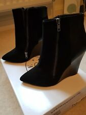 Steve madden boots black leather and suede wedge RRP £125 BNIB