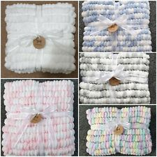 Hand Knitted Super Soft Baby Pom Blankets 2 x 55 x 80cm