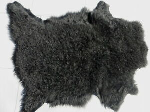 sheepskin leather hide Black Curly Hair Toscana w/Midnight Green smooth back