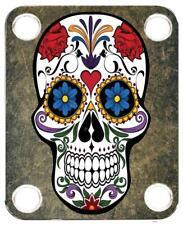 Neck Plate for Fender Guitar Color Graphic PJ Bass Strat Tele Skull Sugar 1