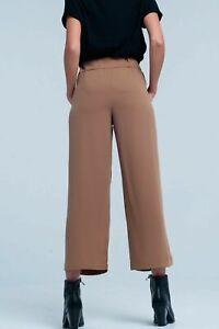 Pantaloni donna larghi estivi lunghi leggeri eleganti palazzo vita alta beige L