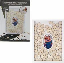 Gästebuch Holz Zwei Bilderrahmen mit 72 Holzherzen Hochzeit taufe Konfirmation