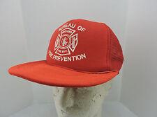 Bureau Fire Prevention Mesh Trucker Hat Cap One Size Snapback Red Fire Dept