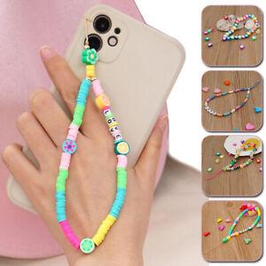 Mobile Phone Camera Charm Lanyard Soft Ceramic Bead Cord Chain Women Keys Holder