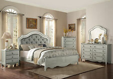 ISABELLA - Traditional 5pcs Silver Queen Upholstered Panel Bedroom Set Furniture