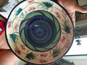 Collector's Gail Pittman Hand-Painted Pottery Blue Grapevine round dish '92