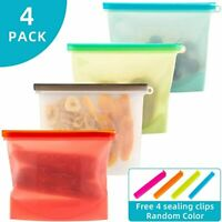 Reusable Silicone Food Storage Bags Zero Waste 1000ml x 4 pack