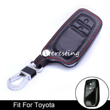 2 Button Black Leather Key Case Cover Key Fob Chain Holder For Toyota RAV4/Camry