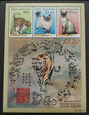 1998 New Zealand Zodiac Lunar Year Tiger - Favourite Cats Mini-Sheet MS (Lot A)