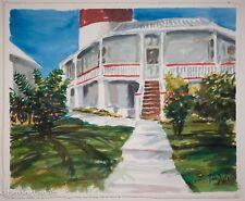 John Doyle Original Watercolor of Coastal Building with Lighthouse, NICE! 3/3