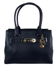 COACH 36488 SWAGGER CARRYALL Navy Pebble Leather Satchel Carryall Bag Msrp $395