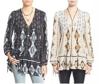 New Free People Voile The Bay Flirty Vneck Boho Chic Tunic Top Shirt  XS S M L