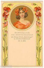 POSTCARD GERMAN 1908 EVENT CARD WOMAN & POPPIES ART NOUVEAU JUGENDSTIL
