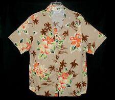 Sz 16W WHITE STAG PLUS Hawaiian Style Shirt TROPICAL HIBISCUS Linen/Rayon Tan