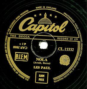 Superbe 1950 Les Paul Et Mary Ford 78 Jealous / Nola GB Capitol CL13332 E / E