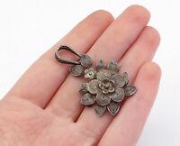 925 Sterling Silver - Vintage Dark Tone Etched Flower Motif Brooch Pin - BP5399
