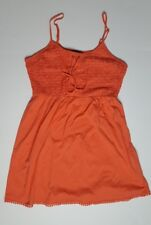 Topshop Womens Embroidered Fit and Flare Dress size 8 with Lace Up Bodice Orange