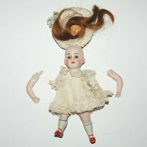 """7"""" Antique German Bisque Jointed Doll Marked 150 .1 Mignonette Repair or Parts"""