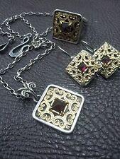 Sterling Silver 925 Gold Garnet Set Ring Necklace Pendant Earrings Israel Purple