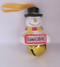 25308 GRANDMAS LITTLE GIRL NAME FROSTY SNOWMAN BELL CHRISTMAS TREE DECORATION