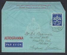 VATICANO 1950 Aerogramma 2C 55L USATO per Londra (E8)