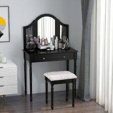 Wood Dressing Vanity Makeup Table with Stool Tri-Mirror 2 Drawers