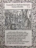 Ulysse Guerre de Troie 1559 Iliade Centaure rarissime gravure sur bois Salomon