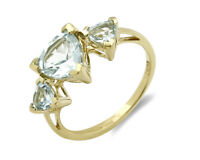 Women's Blue Topaz 10k SOLID Yellow Gold 3 Stone Ring 2 tcw Size 5