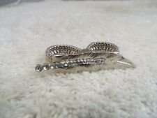 Silvertone Rhinestone Feather Two Finger Ring ~ Size 9 (A63)