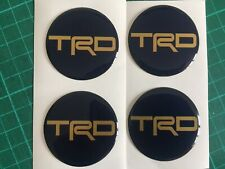 TOYOTA TRD ALLOY WHEEL CENTRE CAP DOMED STICKERS X4  MR2 SUPRA BLUE & GOLD 60mm