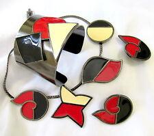 VTG RUNWAY DECO MODERNIST MONET ENAMEL RED BLACK NECKLACE BRACELET EARRINGS MINT