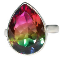 925 Sterling silver Watermelon Quartz Gemstone Ring 4.42 gms Rings Jewelry