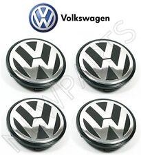Volkswagen Set of 4 Alloy Silver Black Wheel Center Caps Genuine 3B7-601-171-XRW